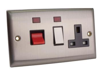 Switched Cooker Control Unit Neon 45A 1-Gang Brushed Steel